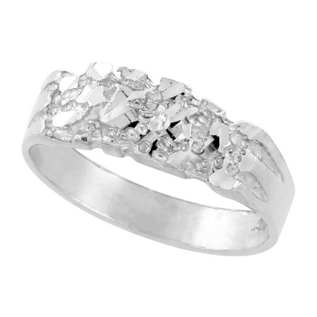 Sterling Silver Baby Nugget Ring Diamond Cut Finish 1/4 inch wide, size