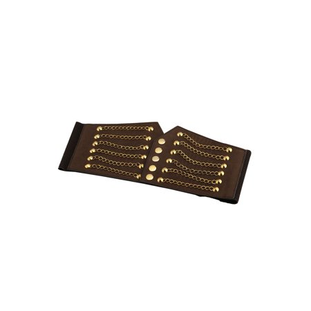 Unique Bargains Lady's Rivet Chains Decor Snap Button Fastener Cinch PU Belt Brown - image 5 de 7