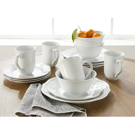 Better Homes & Gardens 16-Piece Carnaby Scalloped Dinnerware Set, White ()