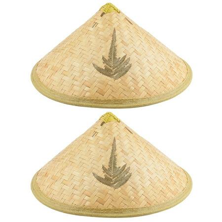 - Unisex Farmer Bamboo Plaid Pattern Chin Cord Handmade Hat Steeple Cap Beige 2pcs