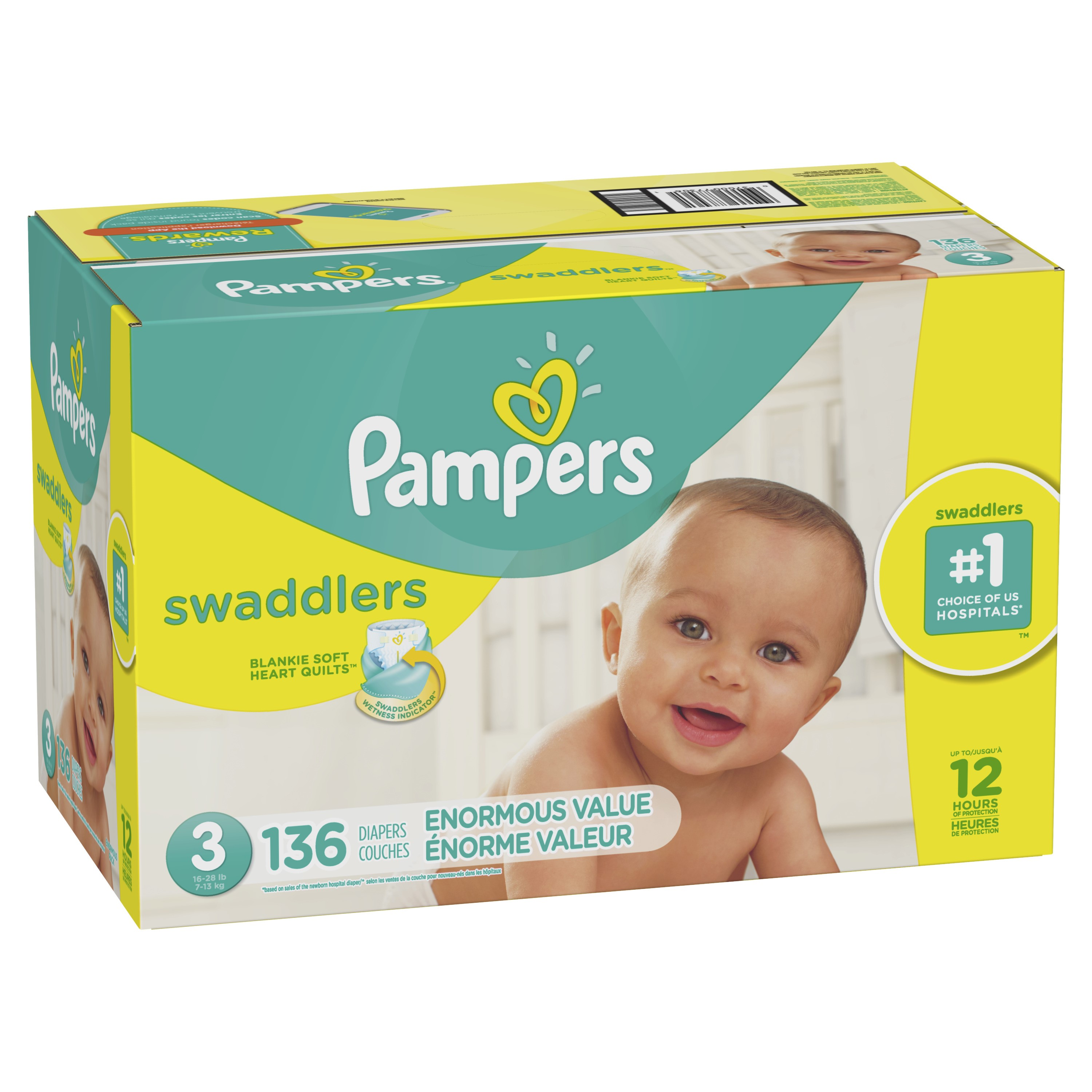Pampers Swaddlers Diapers (Choose Size and Count) Size 3, 136 Count
