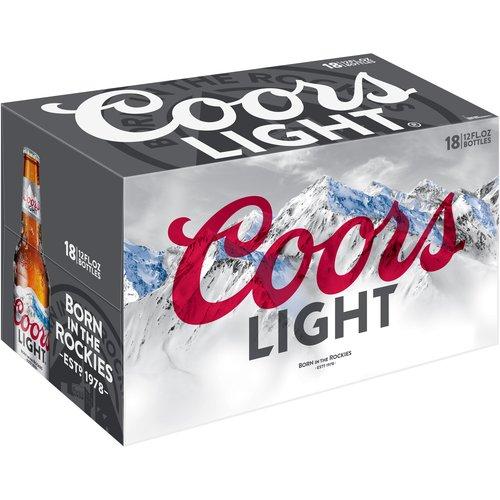 Coors Light Lager Beer, 18 Pack, 12 fl. oz. Bottles, 4.2% ABV