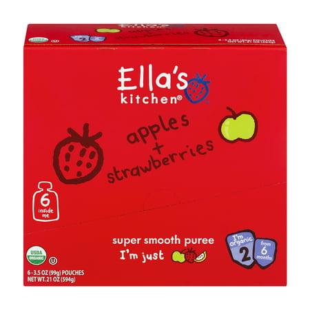 (Ella's Kitchen 6+ Months Organic Baby Food, Apples + Strawberries, 3.5 oz. (Pack of 6))