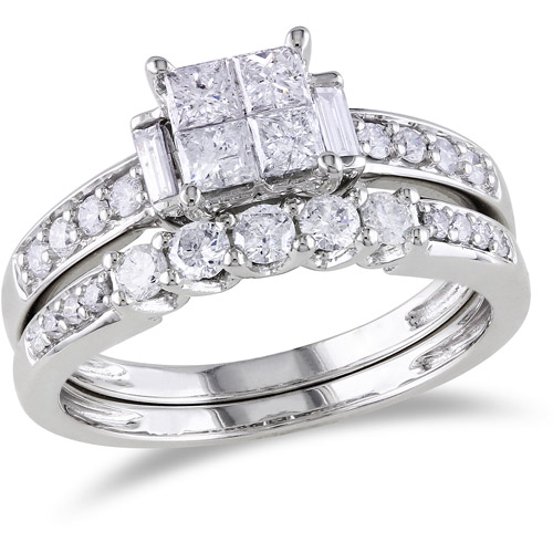 Miabella 1 Carat T.W. Princess, Round and Baguette-Cut Diamond Bridal Ring Set in 10kt White Gold