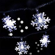 Snowflake Led Lights 16.5ft 50 LED Battery-Operated Fairy String Lights Snowflake Decorations for Home, Church, Holiday, Wedding, Birthday Party, Christmas(Snowflakes White)