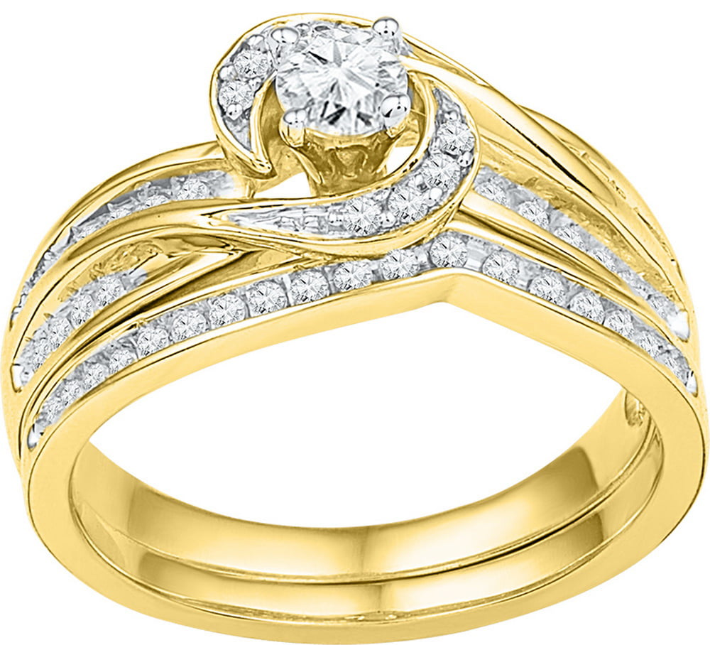 Size 7 10k Yellow Gold Round Diamond Swirl Bridal Wedding Engagement Ring Band Set (1 2 Cttw) by AA Jewels