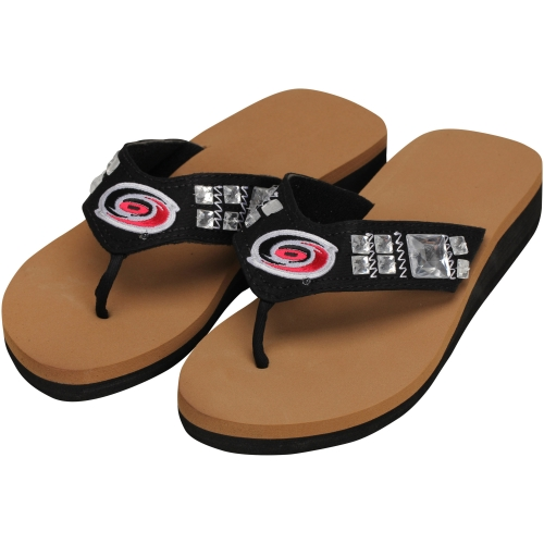 Carolina Hurricanes Women's Jewel Wedge Flip Flops Black by For Bare Feet
