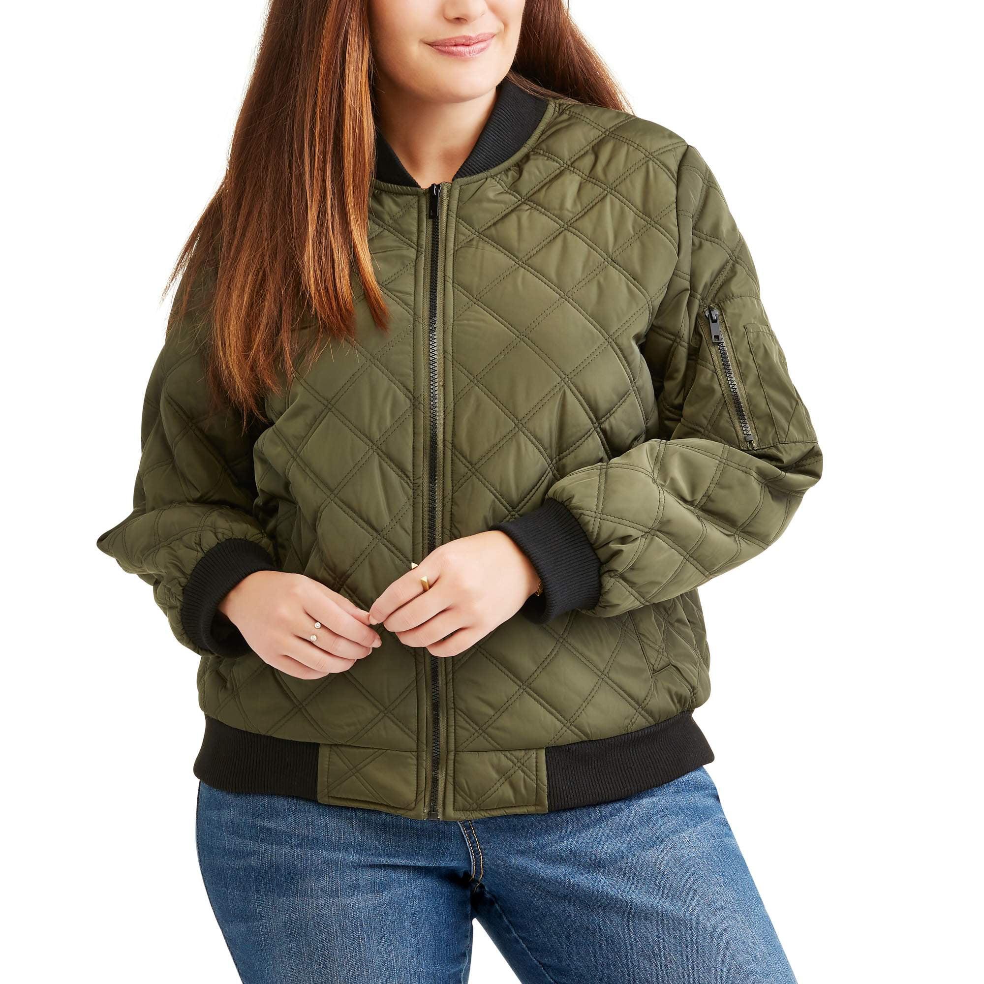Online Women S Plus Size Quilted Bomber Jacket Walmart Com