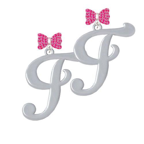 Large Gelato Script Initial - F - Hot Pink Bella Bow Crystal Earrings