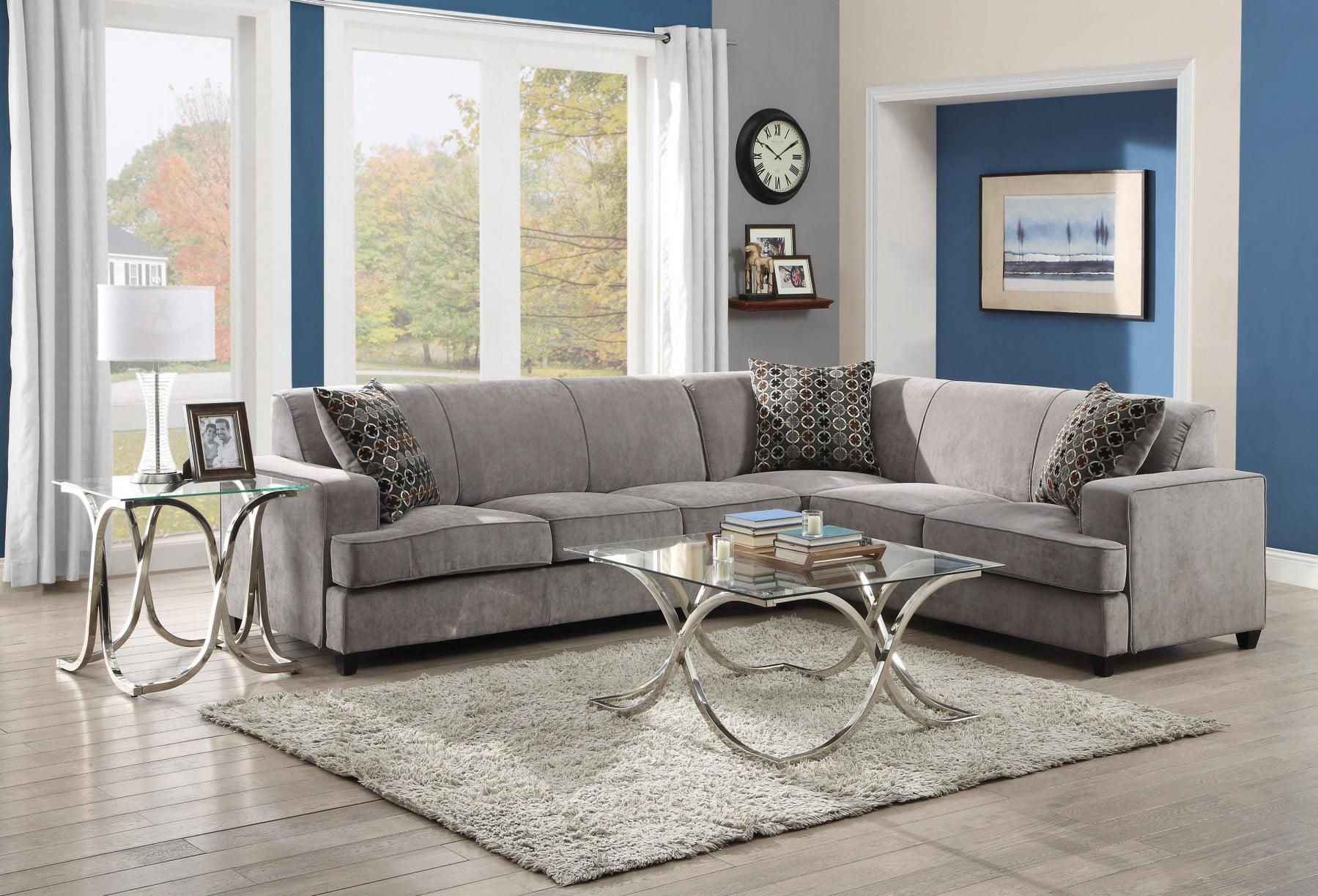 Strange Simple Relax Tess Grey Sectional Sofa With Sleeper Walmart Com Creativecarmelina Interior Chair Design Creativecarmelinacom