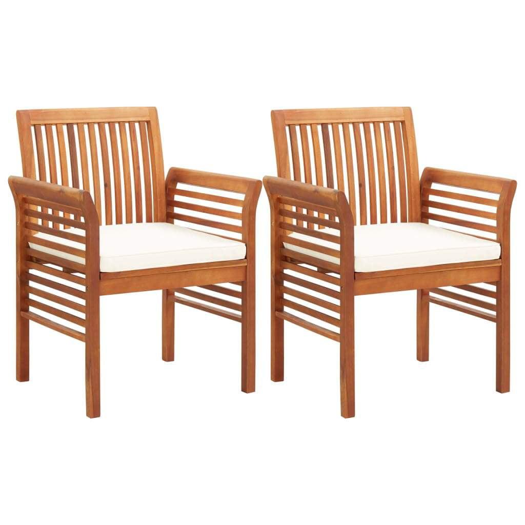 vidaXL 2/3x Solid Acacia Wood Garden Dining Chairs w ...
