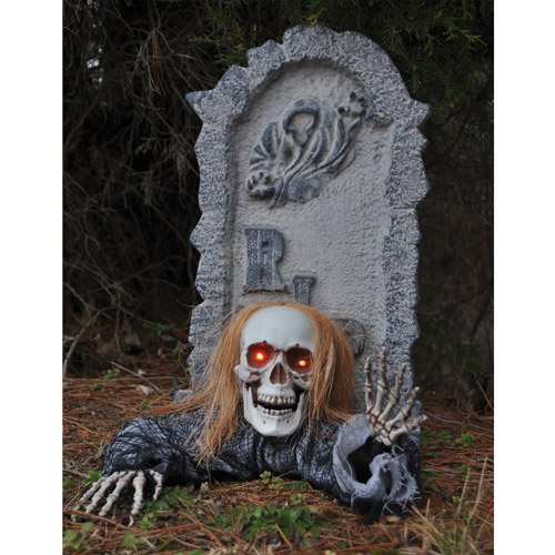 Tombstone Ground Breaker with Skull Halloween Prop
