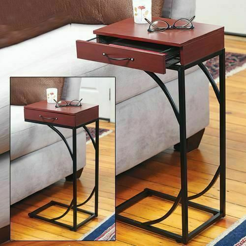 Contemporary Accent Side End Table with Drawer - Small Sofa Wooden Table - Tray Snack Table Slide Under Couch ()