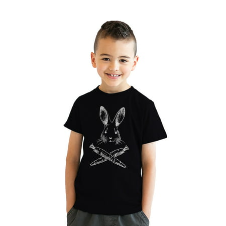 Youth Jolly Roger Easter TShirt Funny Skull Crossbones Bunny Tee For Kids