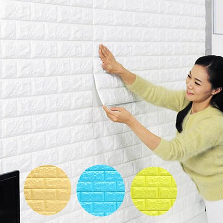 57sq.ft Roll Wall Paper Removable Waterproof 3D Embossed Effect Brick Stone Wall Sticker Vinyl Wallpaper / Wall Decal / TV Walls / TV Background 393.7'' x 21'' (Wallpapers Halloween 3d Gratis)