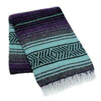 Classic Mexican Yoga Blanket by La Montana - Dark Purple/Mint Green/Charcoal