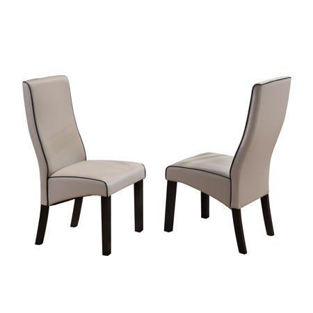 - Eugene Parsons Dining Chairs, Gray Faux Leather & Cappuccino Wood Legs, Transitional, (Set of 2)