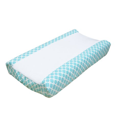 Gia Geometric Aqua Blue Baby Changing Pad Cover by The Peanut Shell
