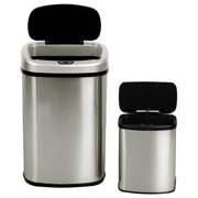 Goplus 13 & 2.3 Gallon Set of 2 Touch-Free Motion Sensor Stainless Steel Bin Trash Can