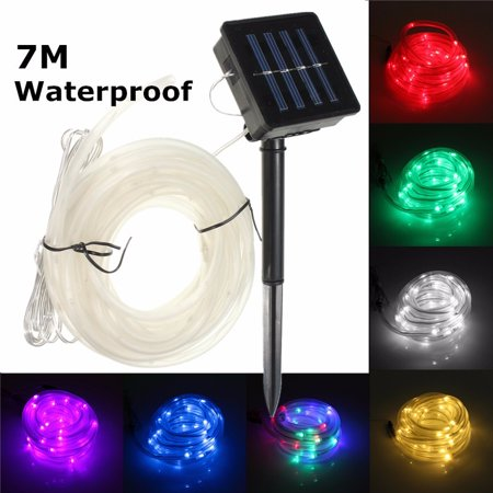 Waterproof 50LED Solar Rope Tube Lights Led String Strip Decorative Xmas Christmas Wedding Party Garden Outdoor Light Lamp + Battery box with solar panel ()