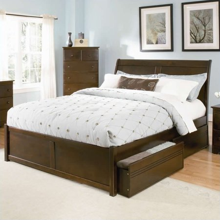 Atlantic Furniture Bordeaux Platform Bed with Flat Panel Footboard in Antique Walnut-Queen