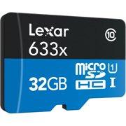 Lexar 32GB microSDHC UHS-I 633X High-Performance Memory Card - Bulk