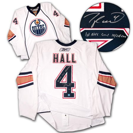 AJ Sports World HALT124011 TAYLOR HALL Edmonton Oilers SIGNED & DATED 1st Goal Authentic PRO-JERSEY num. 44 by