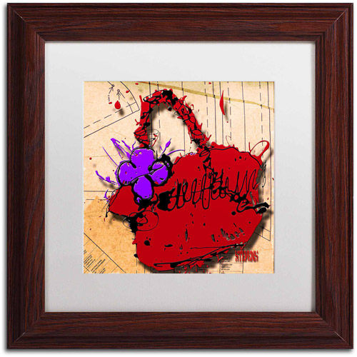 "Trademark Fine Art ""Flower Purse Purple on Red"" Canvas Art by Roderick Stevens, White Matte, Wood Frame"