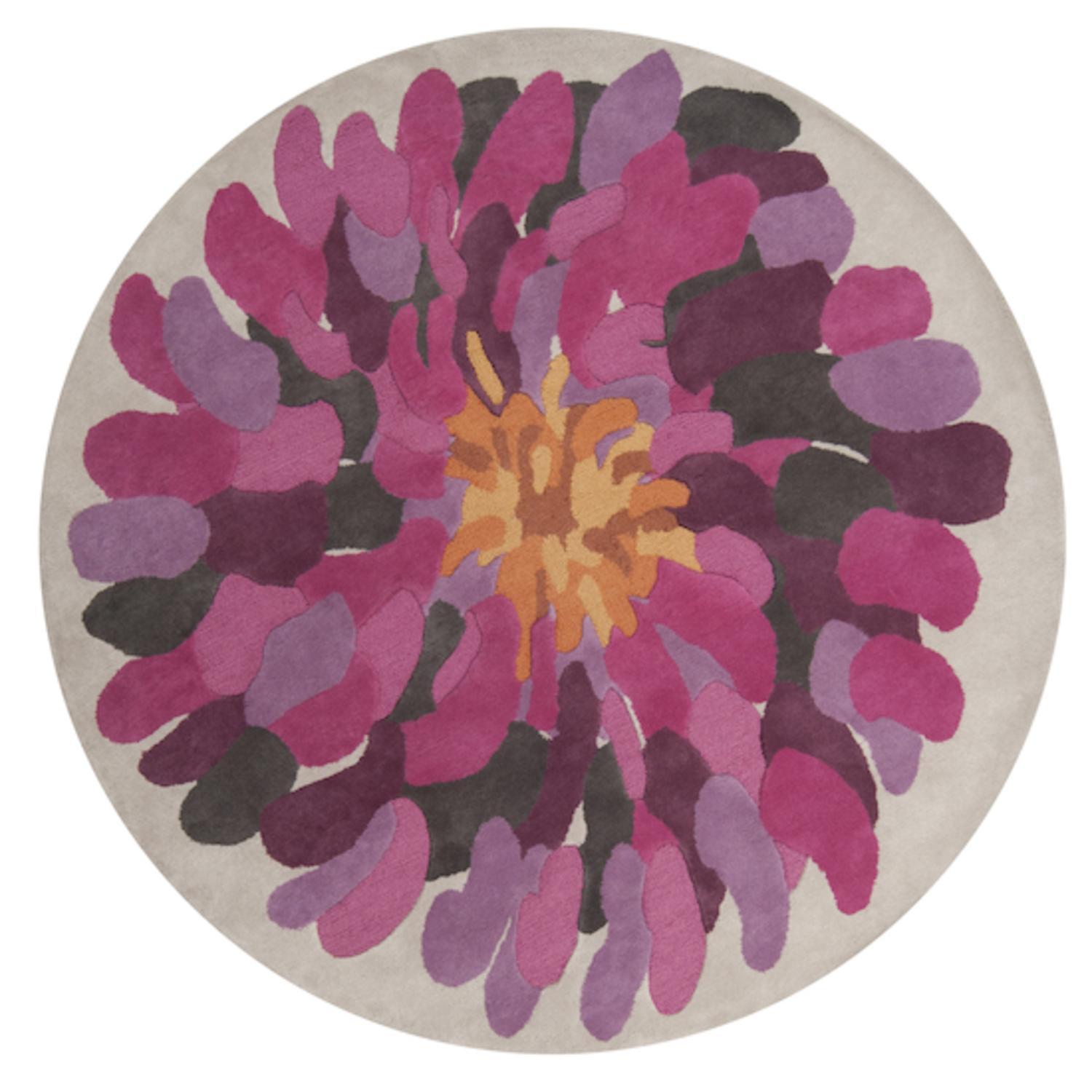 8' Magenta Bloom Raspberry, Golden Ochre, Purple & Bone Wool Round Area Rug