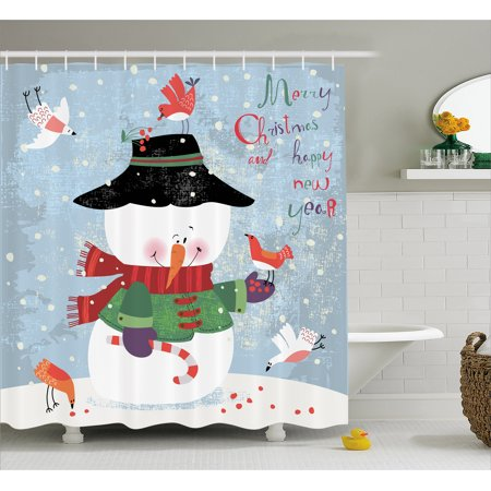 Snowman Shower Curtain, Christmas and New Year Theme Lovely Snowman with Birds Candy Cane Grungy Backdrop, Fabric Bathroom Set with Hooks, 69W X 84L Inches Extra Long, Multicolor, by Ambesonne](Snowman Bathroom Sets)