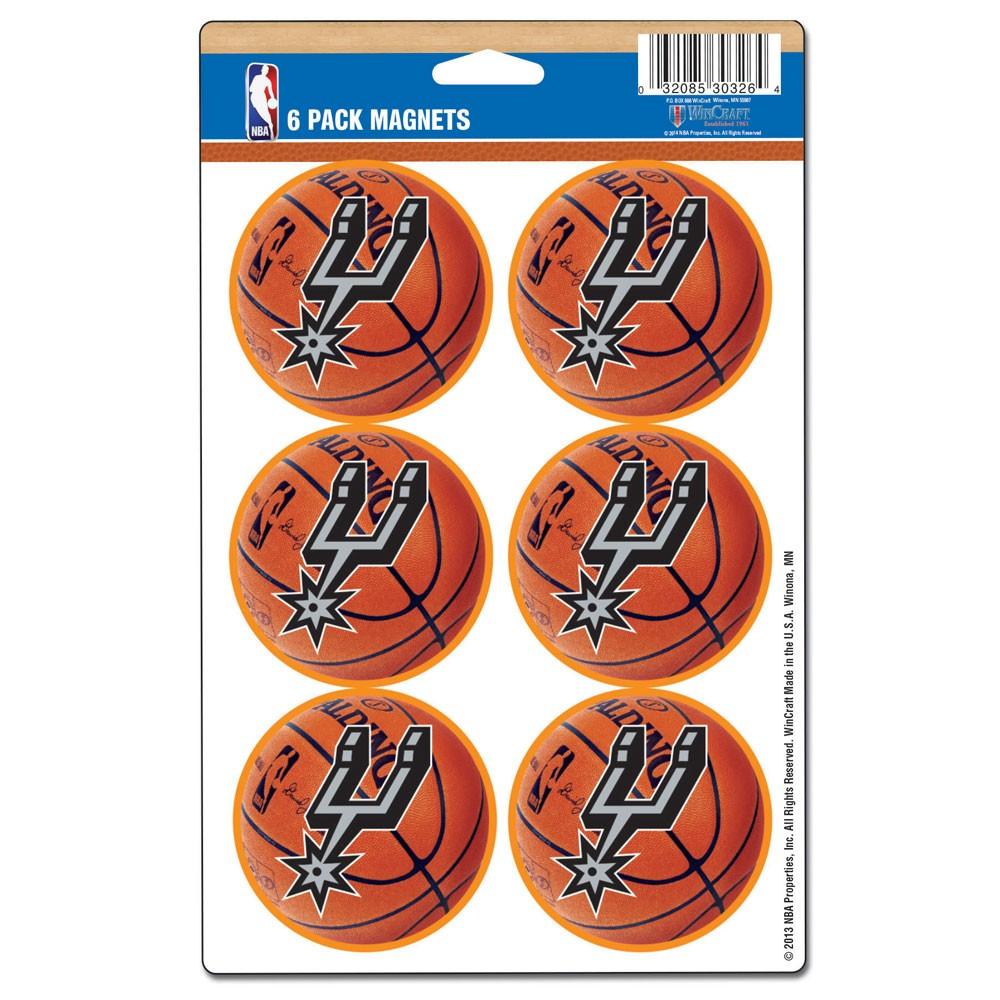 San Antonio Spurs Official NBA  Car Magnet 6-Pack by WinCraft