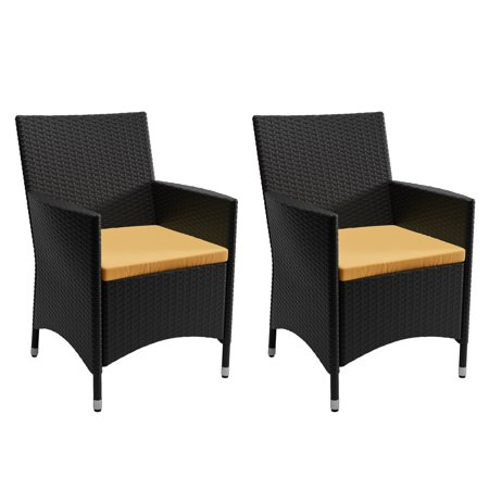 Image of CorLiving Cascade Black Rope Weave Chairs with Sunset Yellow Cushions, set of 2