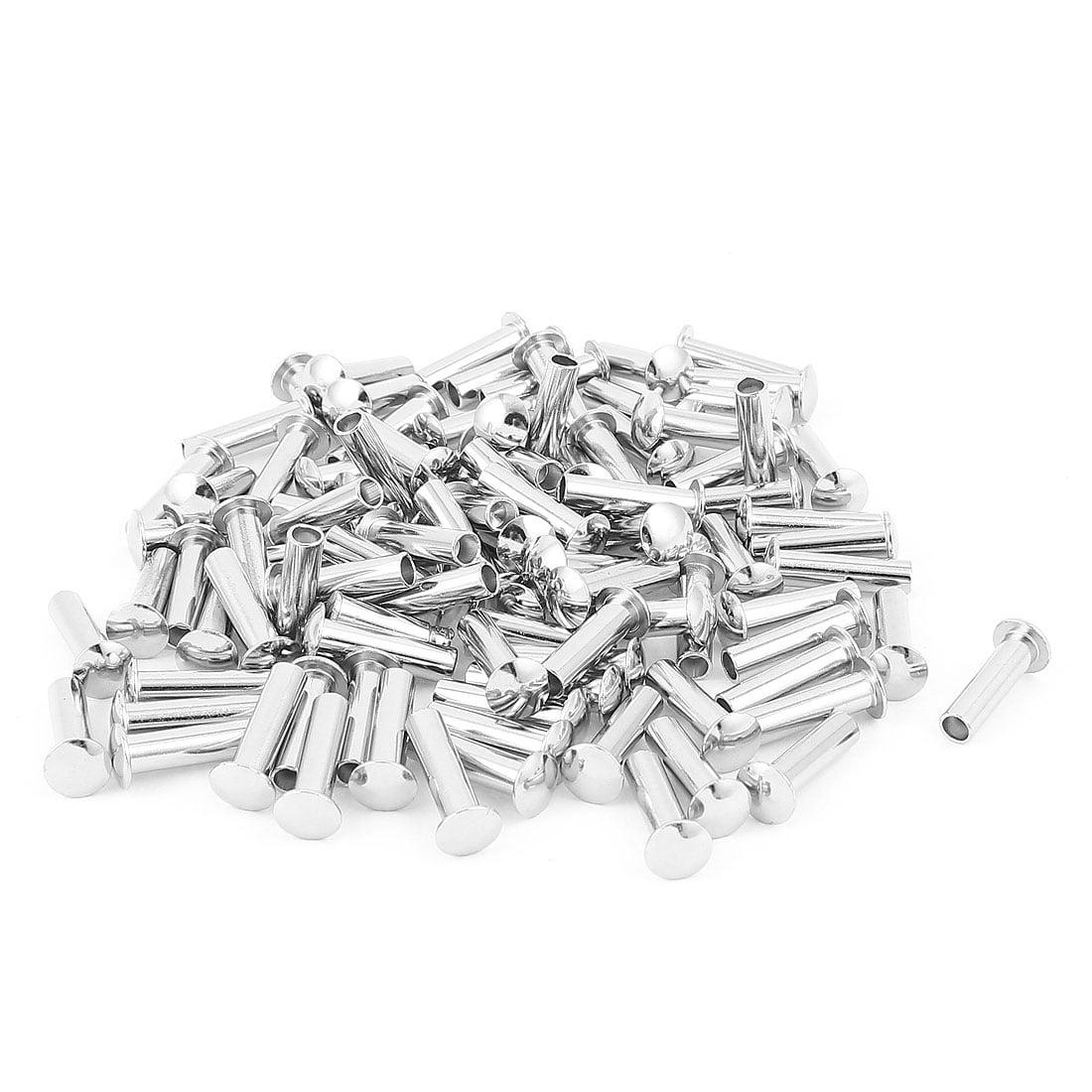 """100 Pcs 15//64/"""" x 7//8/"""" Nickel Plated Oval Head Semi Tubular Rivets Silver Tone"""