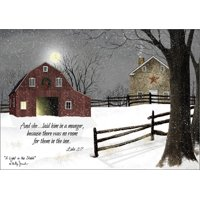 LPG Greetings A Light in the Stable Box of 16 Billy Jacobs Religious Christmas Cards