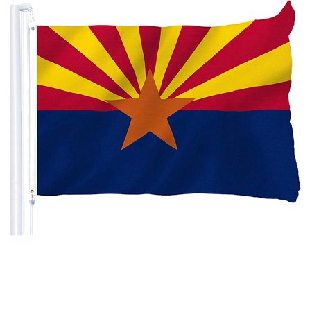 G128 - Arizona State Flag 3x5 ft Printed Brass Grommets 150D Quality Polyester Flag Indoor/Outdoor - Much Thicker and More Durable Than 100D and 75D Polyester (Arizona Indoor Flag)