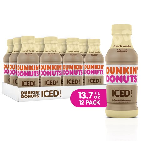 Dunkin' Donuts Iced Coffee, French Vanilla, 13.7 Fl Oz, 12 Count ()