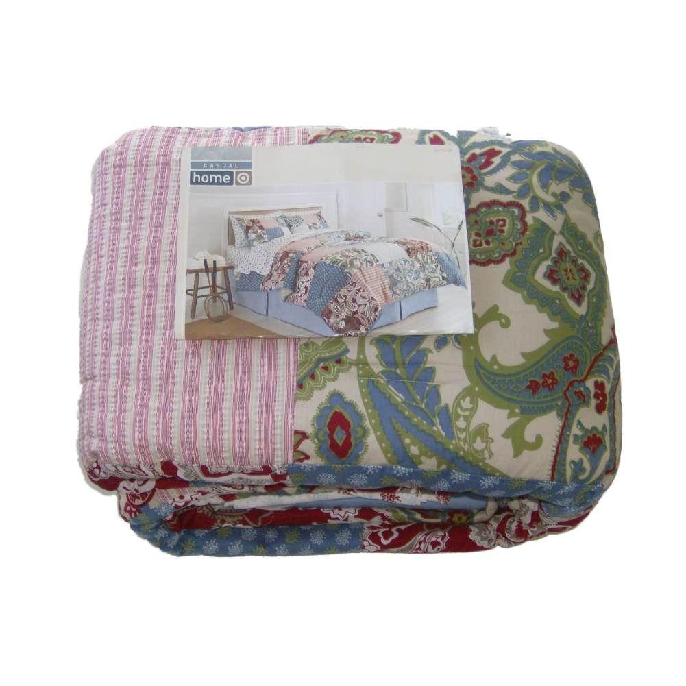 Home Full Bed In Bag Vintage Paisley Stripe Patchwork Comforter Sheets Shams