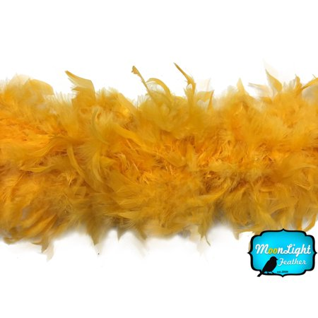 2 Yards - Golden Yellow Chandelle Feather Boa, 80 Gram](Gold Feather Boas)