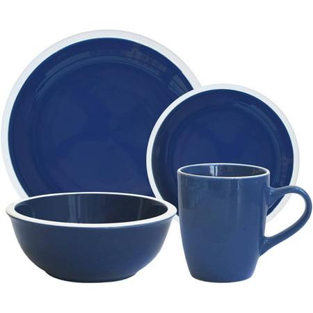 Mainstays Hadleigh Navy Stoneware Dinnerware Set, 16