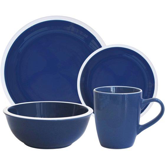 Walmart Housewares: Mainstays 'Hadleigh' 16-Piece Dinnerware Set, Navy