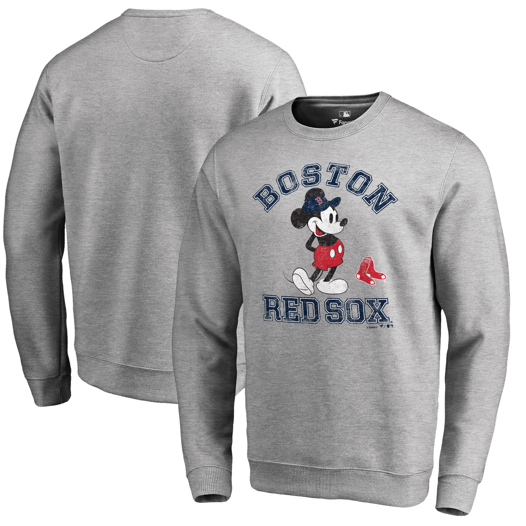 Boston Red Sox Fanatics Branded Disney MLB Tradition Pullover Sweatshirt - Heathered Gray