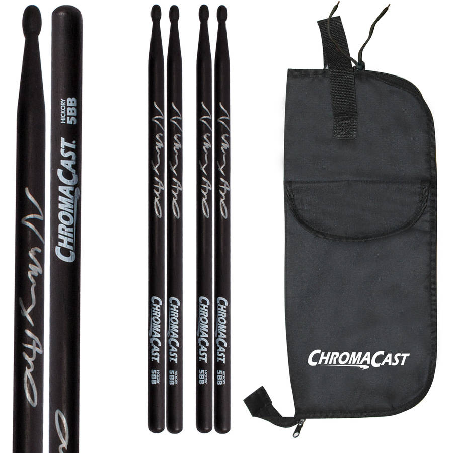 ChromaCast Vinny Appice 5BB Signed Black USA Hickory Drumsticks, 3 Pair with Drumstick Bag