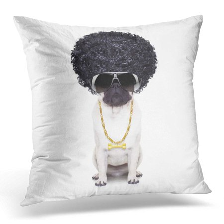 ECCOT Black Absurd Gangster Cool Afro Dog Wit Gold Chain and Sunglasses Hair Pillowcase Pillow Cover Cushion Case 20x20 - Gangster Dog