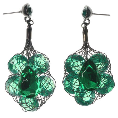 Drop Dangle Earrings With Bright Emerald Green Faceted Rhinestone Accents TME732