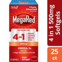 MegaRed Advanced 4 in 1 Omega-3 Fish Oil + Krill Oil Softgels, 500 Mg - 25 Softgels