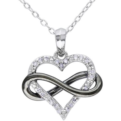 "1/10 Carat T.W. Diamond Two-Tone Sterling Silver Infinity Heart Pendant, 18"""