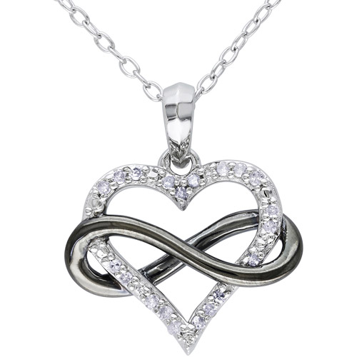 1/10 Carat T.W. Diamond Two-Tone Sterling Silver Infinity Heart Pendant, 18""