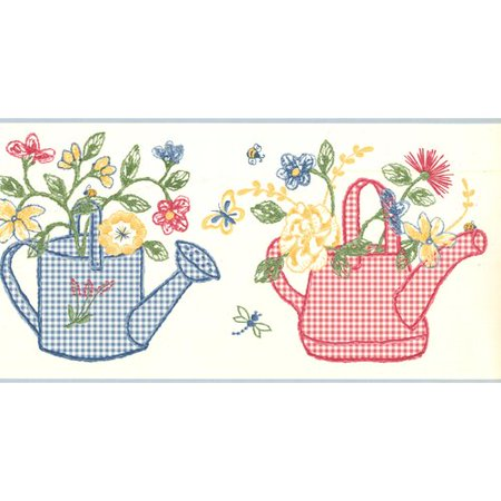 York Wallcoverings Checkered Watering Cans Flowers Wall Border