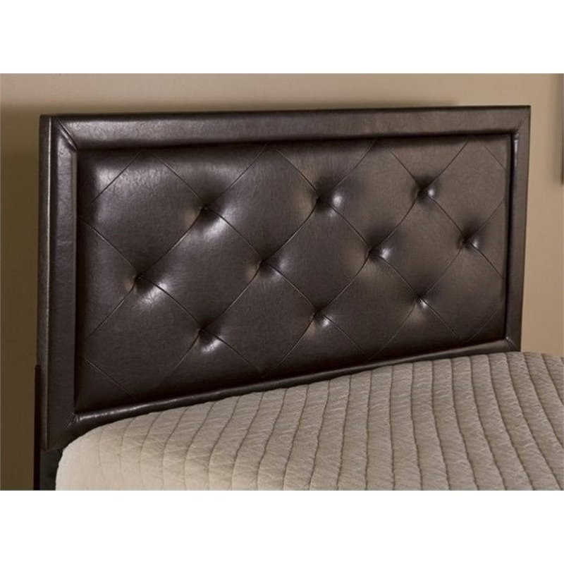 Atlin Designs Tufted Full Panel Headboard with Rails in Brown