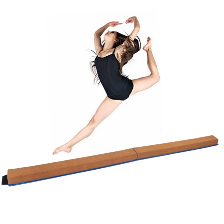 Zimtown 8 Feet Folding Gymnastic Balance Beam Home Floor Stability Prictice, Portable Anti-slip Training Board for Kids Young Gymnasts Cheerleaders ()
